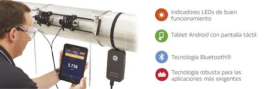 Nueva generación de caudalímetro ultrasónico portátil para líquidos.
