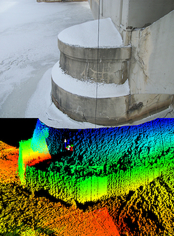 Sonar 3D Teledyne BlueViwe para inspeccion de pilares de puentes