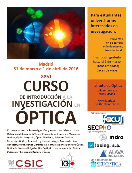 XXVI CURSO INTRODUCCION INVESTIGACION OPTICA
